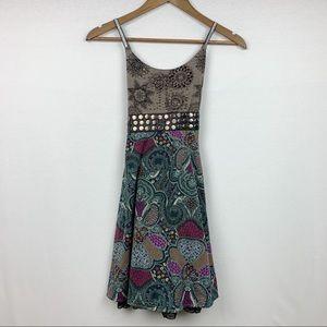 Ya Los Angles Glitter Back Cross Strap Layer Dress